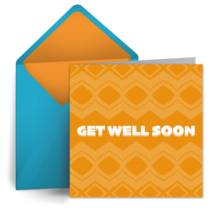 Get Well Retro Orange card image