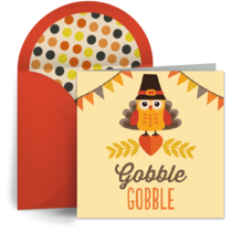 Thanksgiving Turkey Pilgrim card image