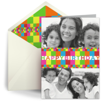 Colored Birthday Blocks Photo card image