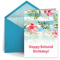 Belated Birthday Flowers card image