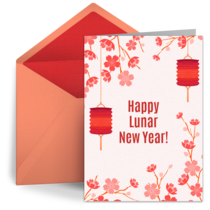 Cherry Blossoms & Lanterns card image