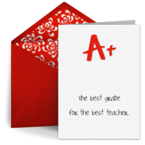 A+ Teacher Thank You card image