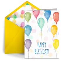 Leap Day Rainbow Balloons card image