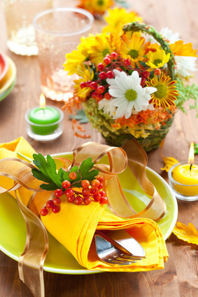 Fall baby shower and autumn place setting ideas
