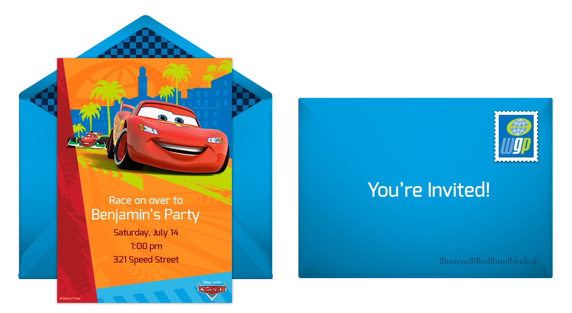 cars birthday party online invitation