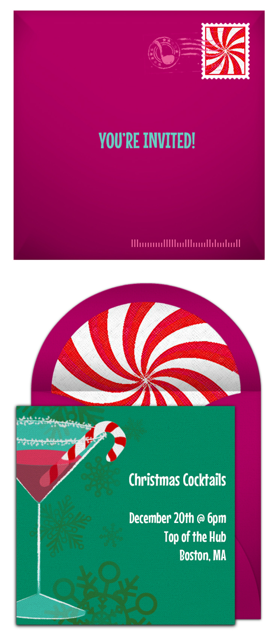 Free Christmas Party Invitation: Peppermint Cocktail