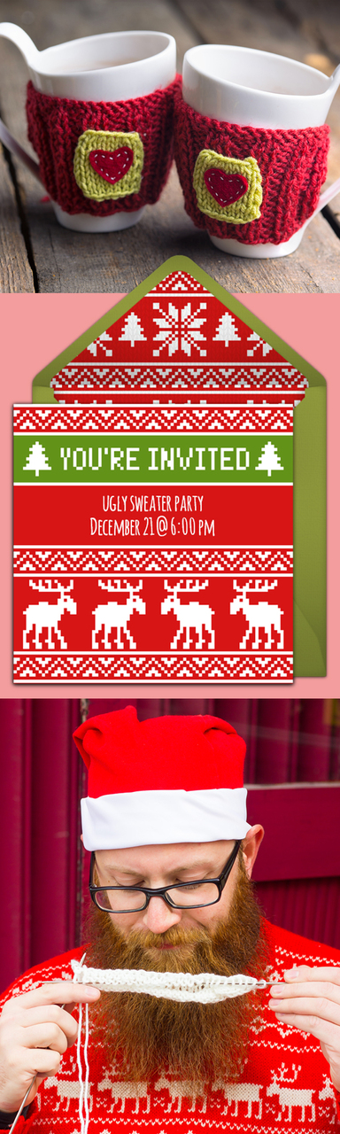 Ugly Sweater Party Ideas: invitations, place settings, games, favors, and more!