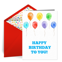 Kids Birthday Balloons card image