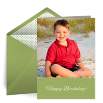 Kids Birthday Photo Green card image