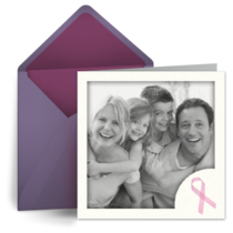 Pink Ribbon Photo Square card image