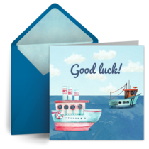 Watercolor Boats card image