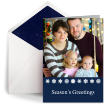 Navy Blue Snowflakes card image