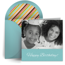 Turquoise Square Birthday Photo card image