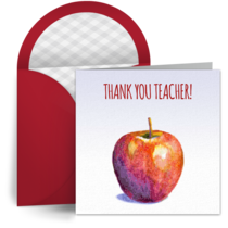 Teacher's Apple Thank You card image