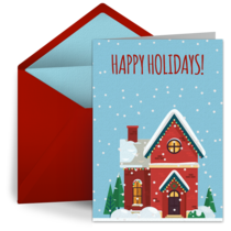 Holiday Snowy House card image