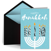 Striped Hanukkah Menorah card image
