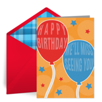 Missing You Birthday Balloons card image