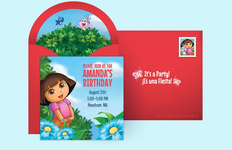 Free Dora Invitations Dora the Explorer Online Invitations Punchbowl
